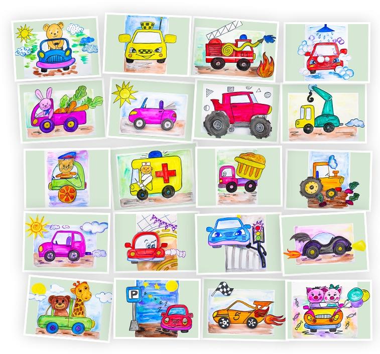 Онлайн-курс лепки для детей «Объемные картины: Машинки» SkillBerry