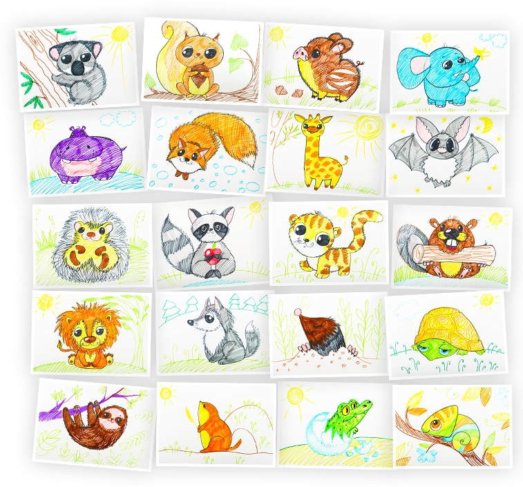 Онлайн-курс для детей Рисуем фломастерами: Дикие Животные Skillberry