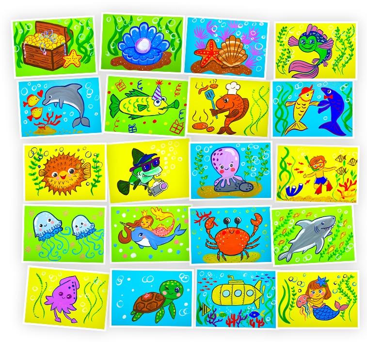 Онлайн-курс для детей Рисуем Гуашью: Приключения под Водой Skillberry