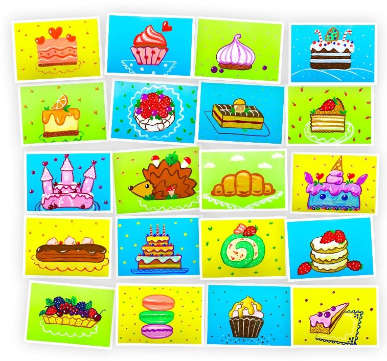Онлайн-курс для детей Рисуем Гуашью: Торты и Пирожные Skillberry