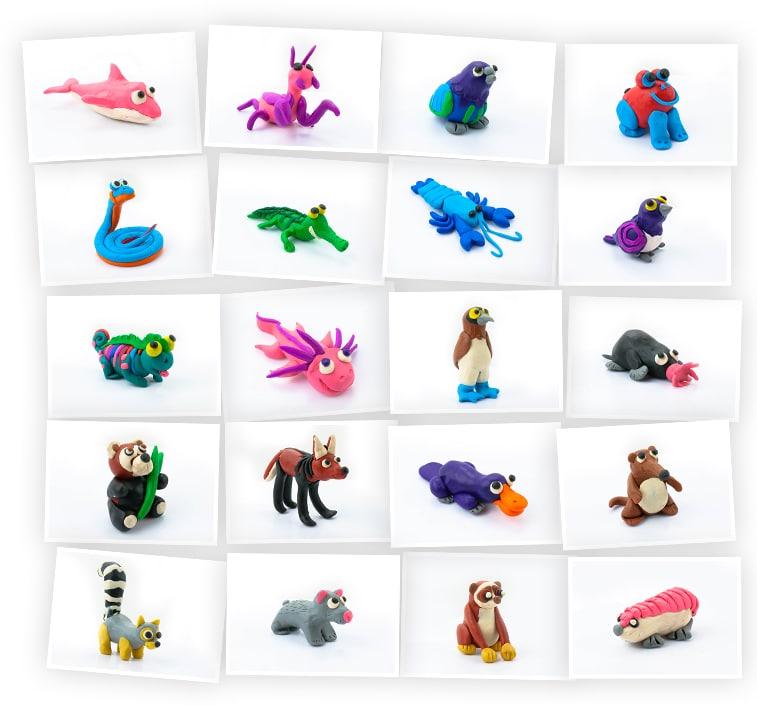 Онлайн-курс для детей «Ваш ребенок слепит из пластилина 20 необычных животных» SkillBerry