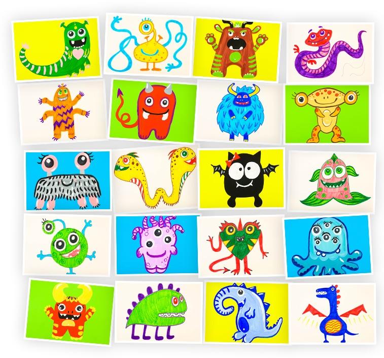 Онлайн-курс рисования для детей «Монстрики» SkillBerry