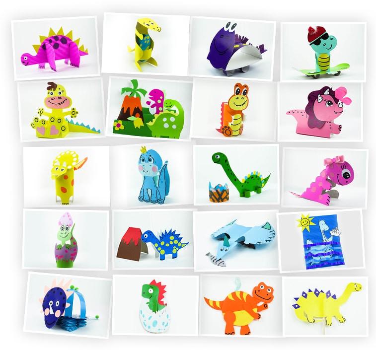 Онлайн-курс для детей «Поделки из бумаги и картона: Динозавры» SkillBerry