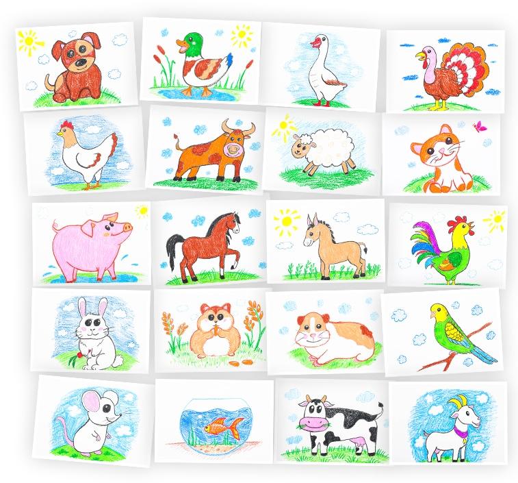 Онлайн-курс Рисуем восковыми мелками: Домашние Животные Skillberry