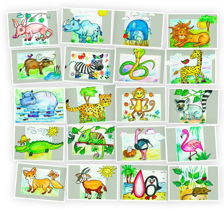 Онлайн-курс для детей Объемные картины: Животные Африки Skillberry