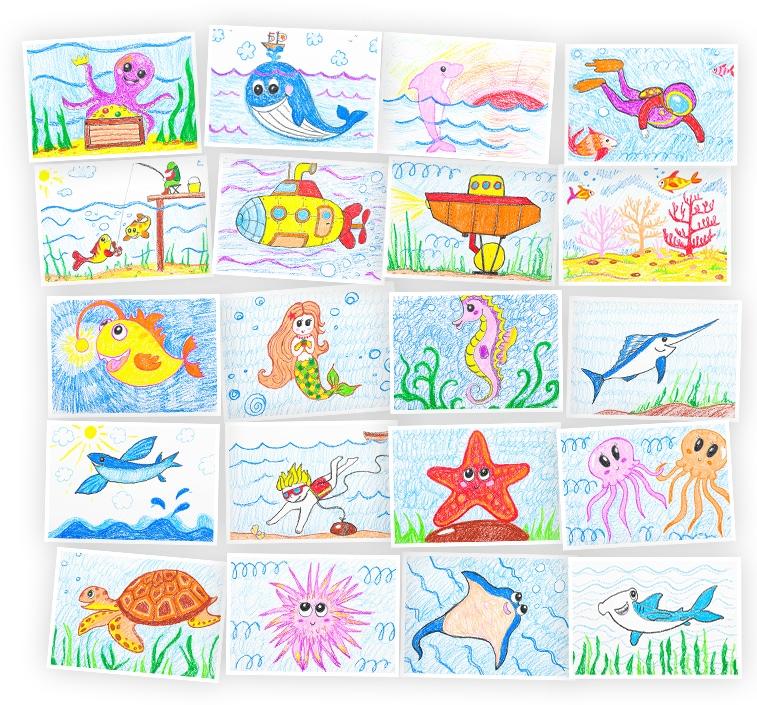 Онлайн-курс для детей Рисуем восковыми мелками: Морской мир Skillberry