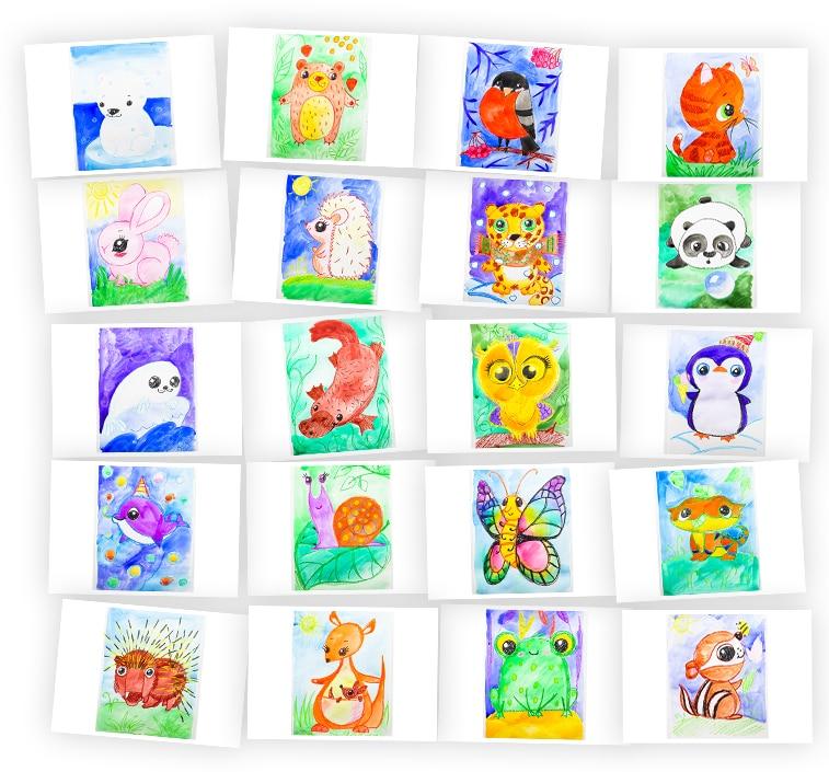 Онлайн-курс для детей Акварель + Мелки: Животные Skillberry
