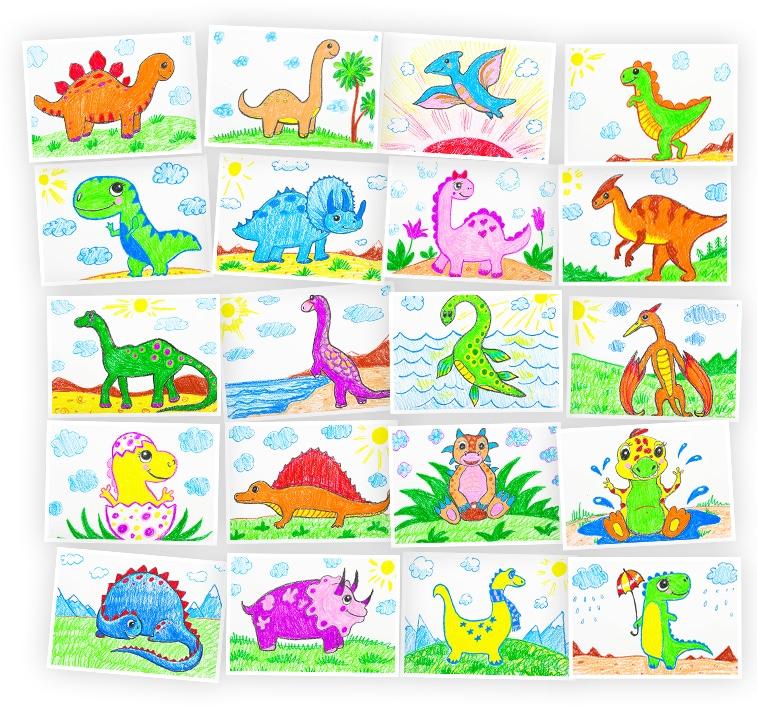 Онлайн-курс для детей Рисуем восковыми мелками: Динозавры Skillberry