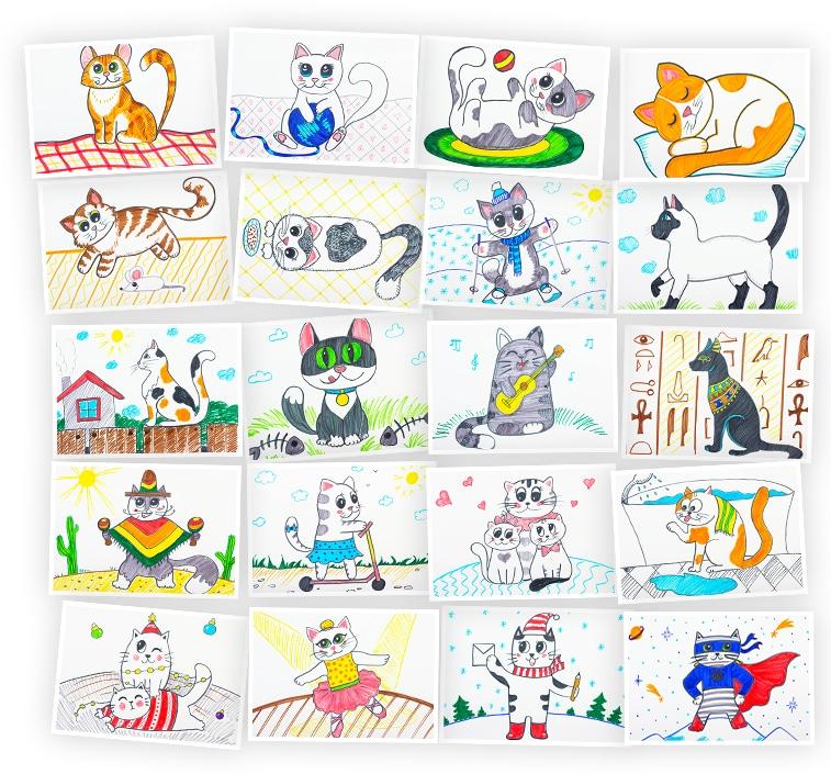 Онлайн-курс для детей Рисуем фломастерами: Кошки и котята Skillberry