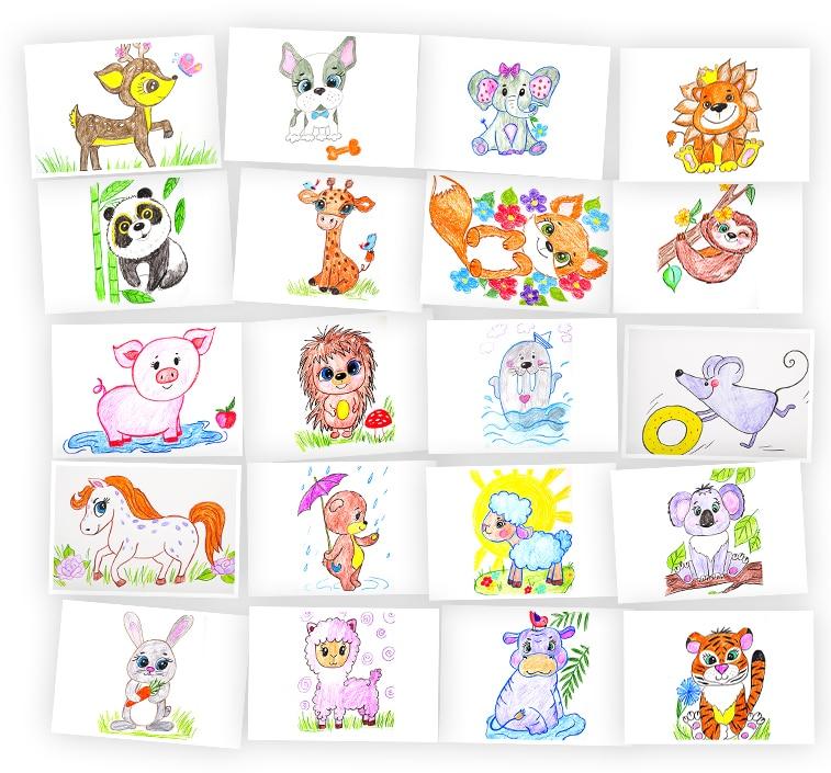 Онлайн-курс для детей Рисуем Животных карандашами Skillberry