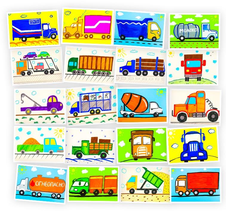 Онлайн-курс рисования для детей «Грузовые машины» SkillBerry