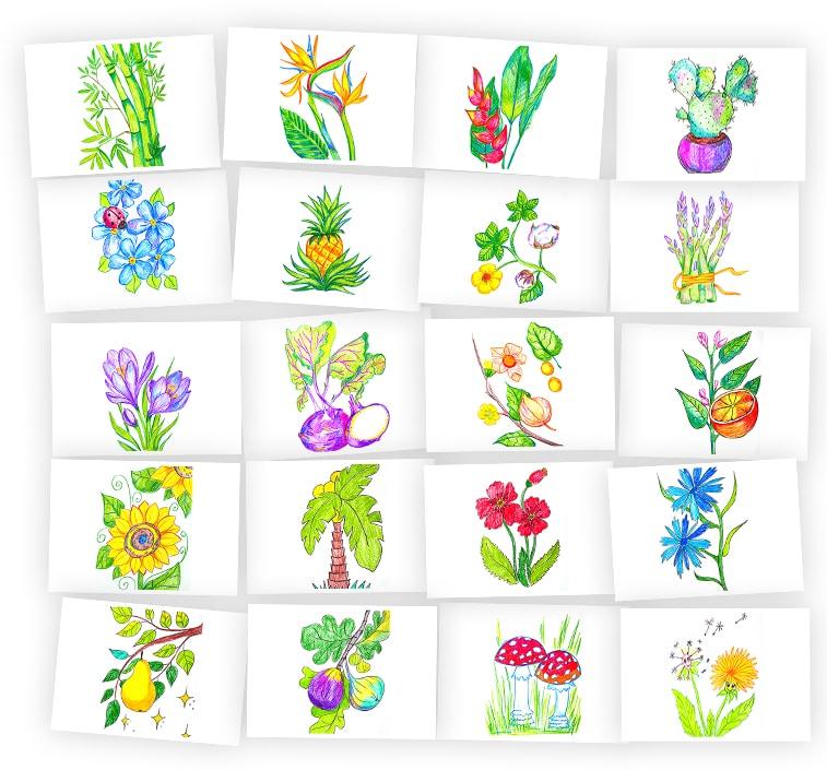 Онлайн-курс для детей Рисуем Карандашами: Растения и Деревья Skillberry