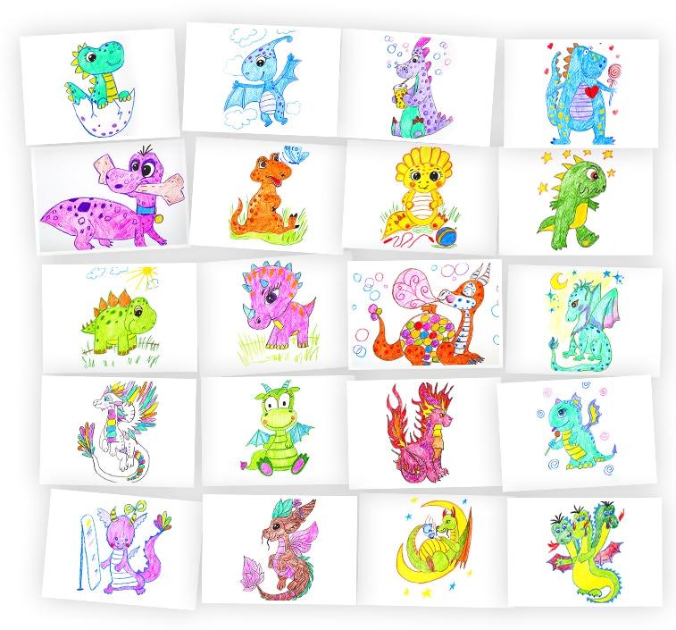 Онлайн-курс для детей Рисуем Карандашами: Драконы и Динозавры Skillberry