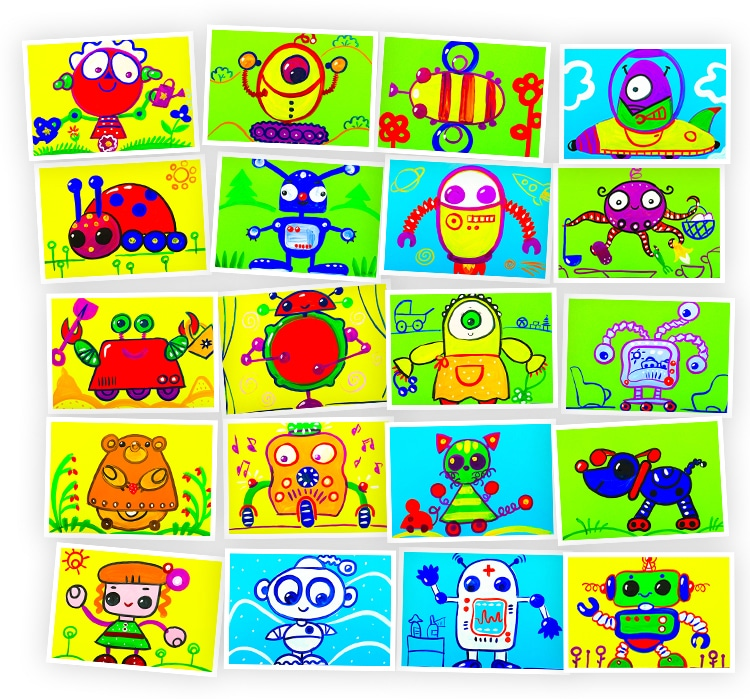 Онлайн-курс для детей Рисуем Гуашью: Роботы Skillberry