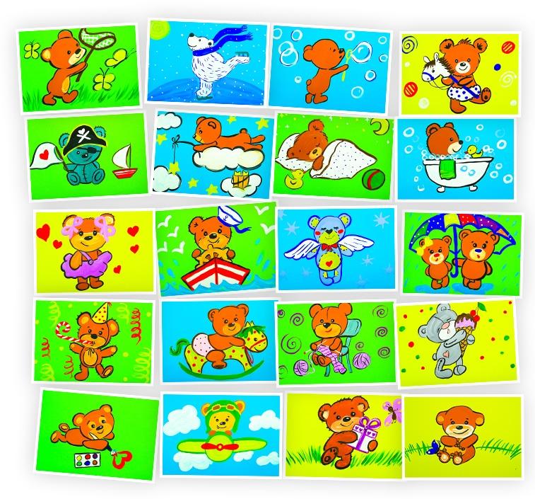 Онлайн-курс для детей Рисуем Гуашью: Милые Мишки Skillberry