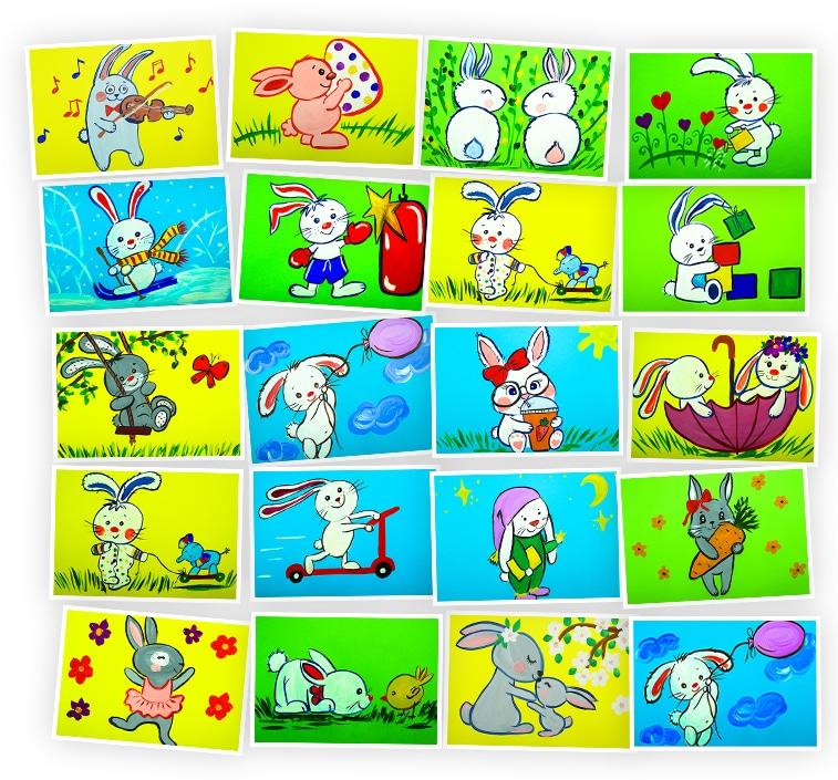 Онлайн-курс для детей Рисуем Гуашью: Милые Зайки Skillberry