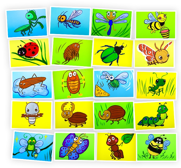 Онлайн-курс для детей Рисуем Гуашью: Насекомые Skillberry