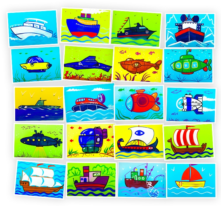 Онлайн-курс для детей Рисуем Гуашью: Корабли и Подводные Лодки Skillberry