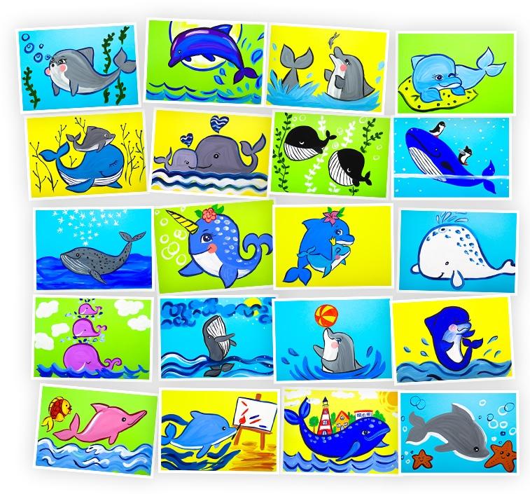 Онлайн-курс для детей Рисуем Гуашью: Киты и Дельфины Skillberry
