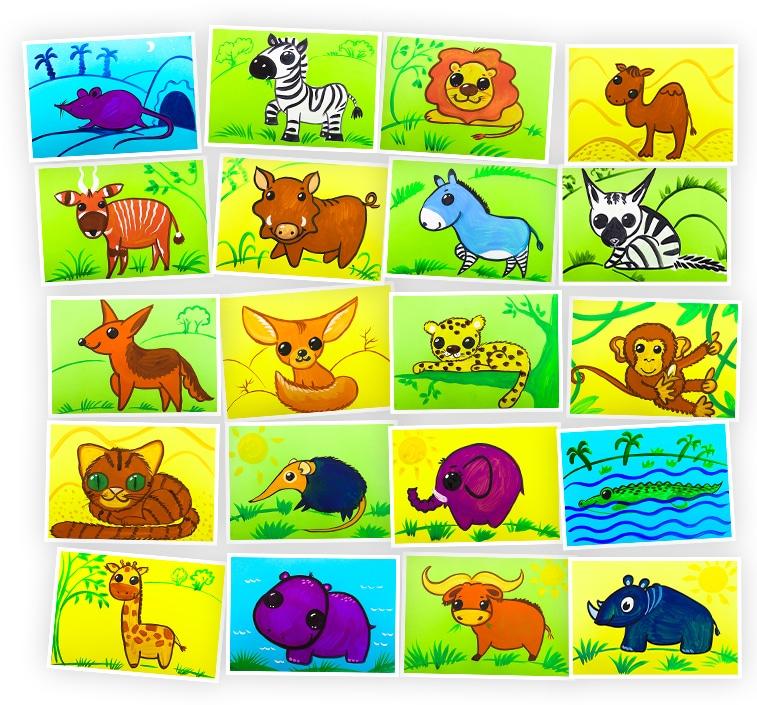 Онлайн-курс для детей Рисуем Гуашью: Животные Африки Skillberry
