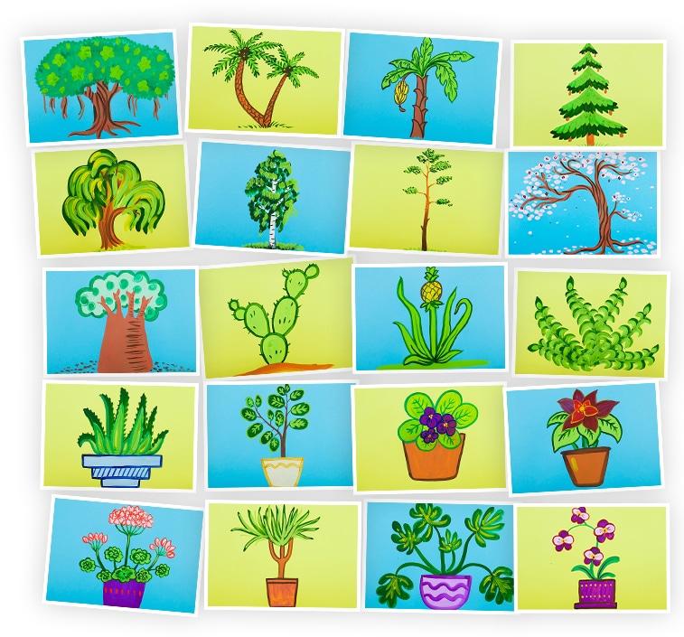 Онлайн-курс для детей Рисуем Гуашью: Растения и Деревья Skillberry