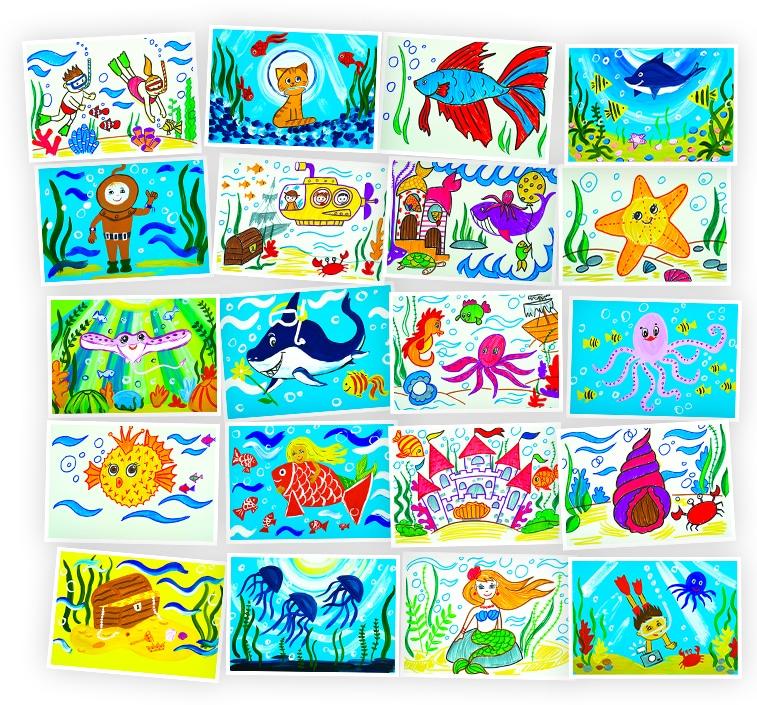 Онлайн-курс рисования для детей «Приключения под водой» SkillBerry