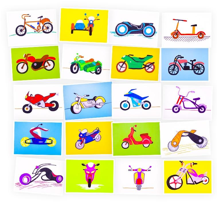 Онлайн-курс рисования для детей «Мотоциклы» SkillBerry