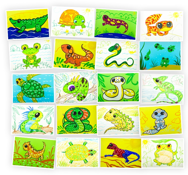 Онлайн-курс рисования для детей «Учимся рисовать Рептилий» SkillBerry